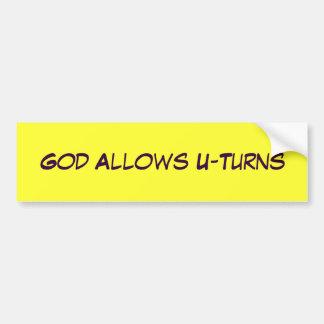 O deus permite inversões de marcha adesivo para carro
