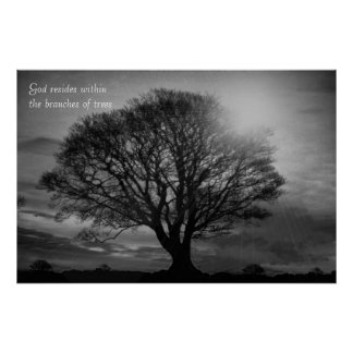 O deus reside dentro dos ramos das árvores pôster