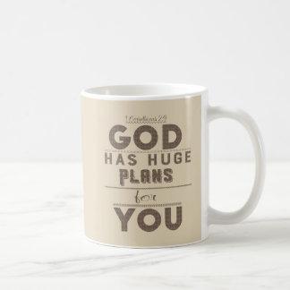 O deus tem planos enormes para você caneca de café