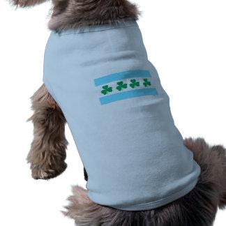 O dia Chicago de St Patrick do rio do trevo Camisa Sem Mangas Para Cachorro