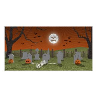 O Dia das Bruxas: Cena do cemitério: Cartoes Com Fotos Personalizados