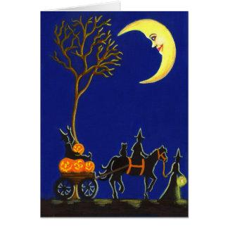 O Dia das Bruxas, cumprimento, cartão, bruxas, Cartão Comemorativo