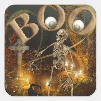 O Dia das Bruxas de esqueleto e grave Adesivo Quadrado