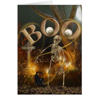 O Dia das Bruxas de esqueleto e grave Cartão Comemorativo