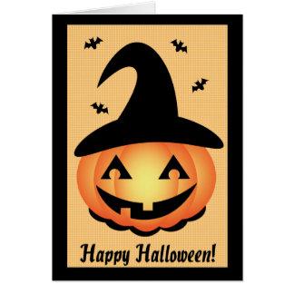 O Dia das Bruxas feliz - bruxa da abóbora Cartão Comemorativo