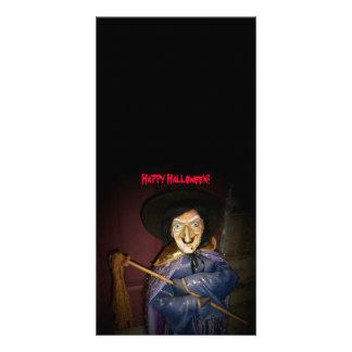 O Dia das Bruxas feliz! - Cartão com fotos da brux Cartão Com Foto