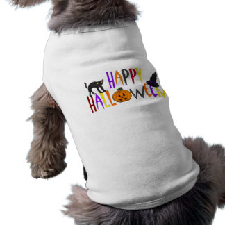 O Dia das Bruxas feliz colorido Camisa Sem Mangas Para Cachorro
