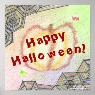 O Dia das Bruxas feliz! Poster colorido brincalhão