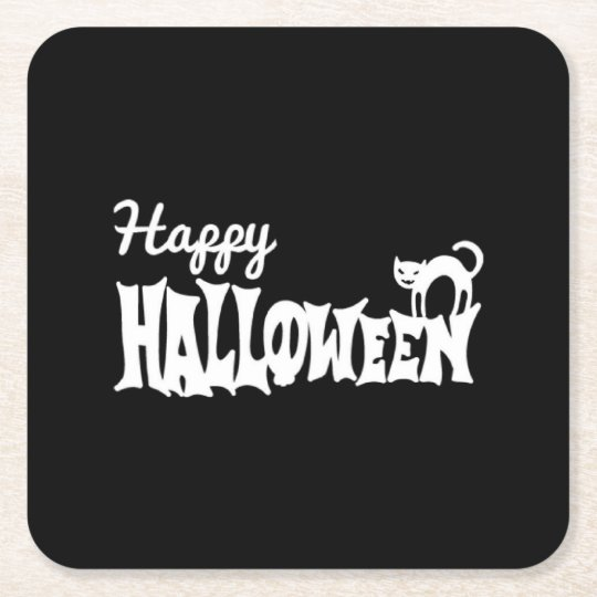 O Dia das Bruxas feliz preto e branco Porta-copo De Papel Quadrado