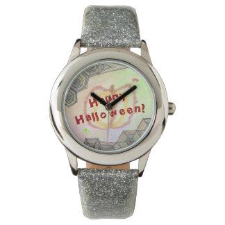 O Dia das Bruxas feliz! Relógio colorido
