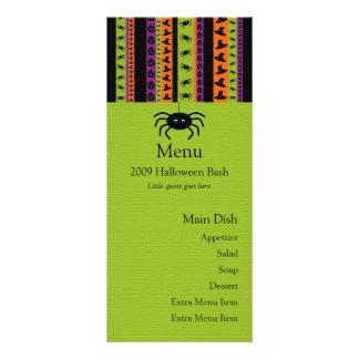 O Dia das Bruxas listra o cartão do menu da aranha 10.16 X 22.86cm Panfleto