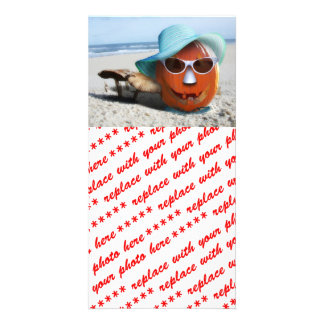 O Dia das Bruxas na praia Cartão Com Foto