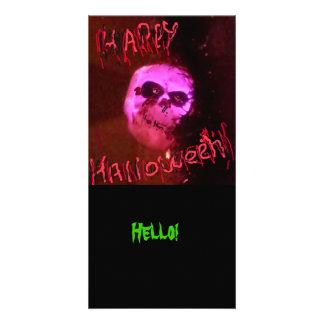 O Dia das Bruxas olá! Cartão Com Fotos Personalizado