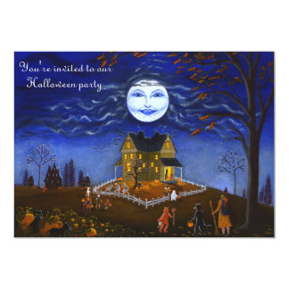 O Dia das Bruxas, partido, convite, bruxa, lua, Convite 12.7 X 17.78cm