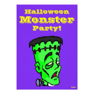 O Dia das Bruxas - partido do monstro! Convites Personalizado