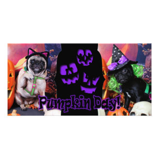 O Dia das Bruxas - Pug - margarida Mae e lírio Lou Cartões Com Foto