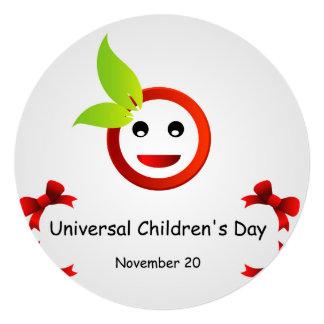 O dia das crianças universais 20 de novembro convite quadrado 13.35 x 13.35cm