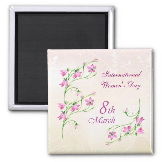 O dia das mulheres internacionais, flores cor-de-r ímã quadrado