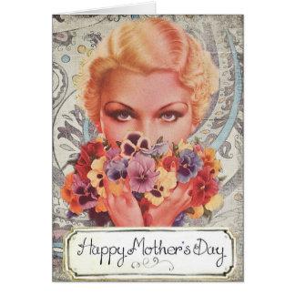 O dia de mãe feliz do vintage cartão comemorativo