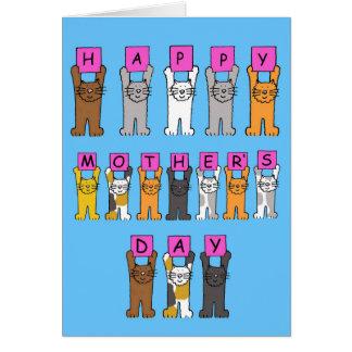 O dia de mãe feliz dos gatos dos desenhos animados cartoes