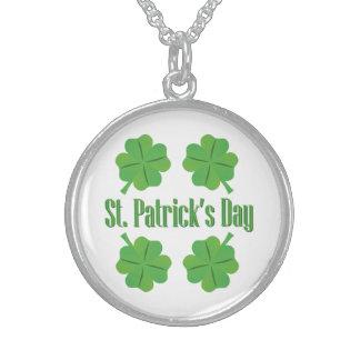 O dia de St Patrick com trevo Colar De Prata Esterlina