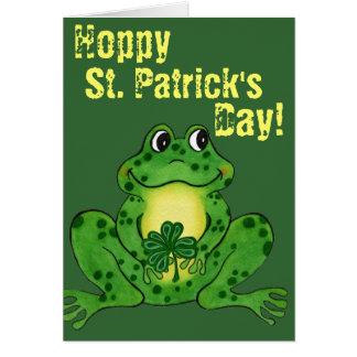 O dia de St Patrick Hoppy - cartão Hoppy do sapo