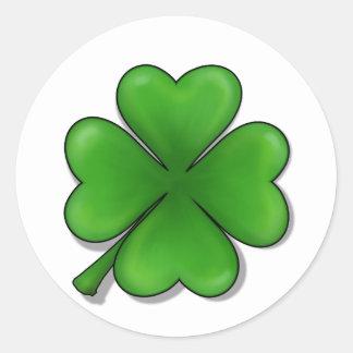 O dia de St Patrick, trevo de quatro folhas Adesivos Redondos