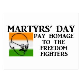 O dia dos mártir (India) Cartão Postal