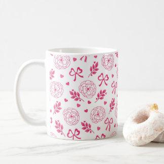 O dia dos namorados floresce o rosa dos corações caneca de café