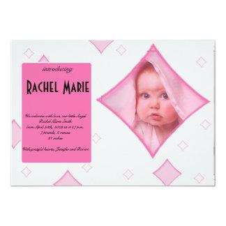 O diamante cinzento cor-de-rosa molda o anúncio do convite 12.7 x 17.78cm