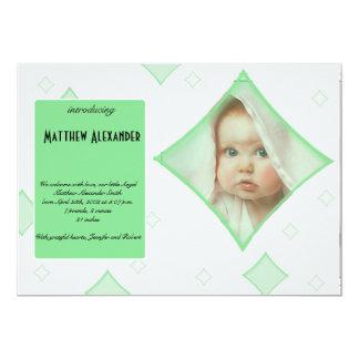 O diamante cinzento verde molda o anúncio do bebê convite 12.7 x 17.78cm