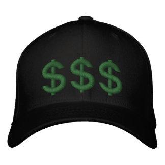 O dinheiro em meus sinais de dólar da mente bordou boné bordado