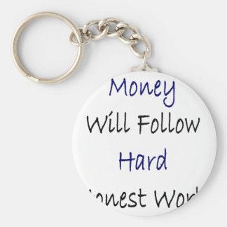 O dinheiro seguirá o trabalho honesto duro chaveiros