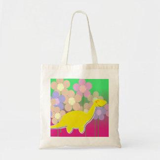 O dinossauro amarelo bonito floresce o saco bolsa para compras