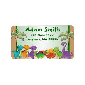 O dinossauro caçoa etiquetas de endereço etiqueta de endereço