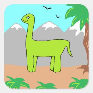 O dinossauro feliz adesivo em forma quadrada