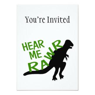 O dinossauro ouve-me Rawr Convite 12.7 X 17.78cm