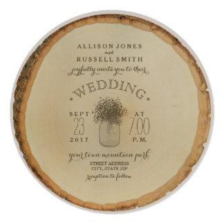 O disco de madeira inspirou o casamento da convite quadrado 13.35 x 13.35cm