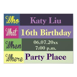 O divertimento colorido genérico convida convite 12.7 x 17.78cm
