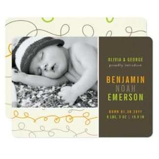 Cartão O divertimento Scribbles o anúncio do nascimento