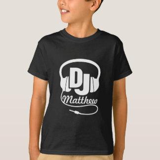O DJ seu branco do nome no preto caçoa o t-shirt Camiseta