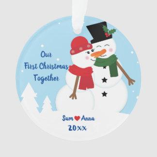 ø Do Natal ornamento do boneco de neve junto