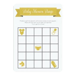 O dobro cinzento amarelo do jogo do Bingo do chá Convite 12.7 X 17.78cm
