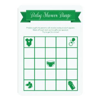 O dobro verde do jogo do Bingo do chá de fraldas Convite 12.7 X 17.78cm