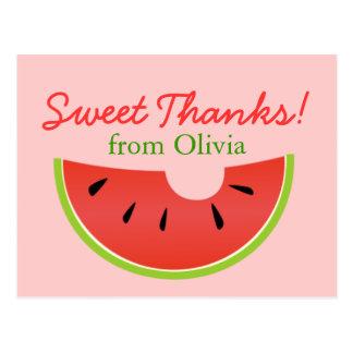 O doce da mordida da melancia agradece ao cartão