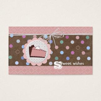 O doce deseja cartões de visitas da torta