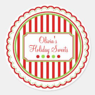 O doce do Natal listra etiquetas do feriado Adesivos Em Formato Redondos