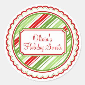 O doce do Natal listra etiquetas do feriado Adesivo Redondo