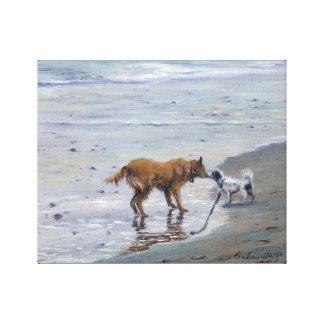 """O """"Doggy beija"""" o impressão das canvas da galeria"""