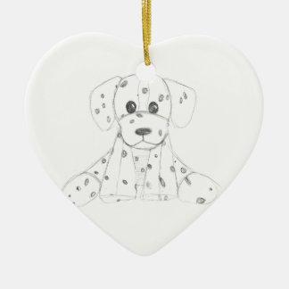 o doodle simples do cão caçoa o dalmatian branco ornamento de cerâmica